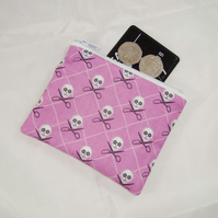 Skulls on Pink Fabric Coin Purse - Free P&P