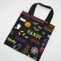Halloween Words Fabric Trick or Treat Bag - Free UK P&P