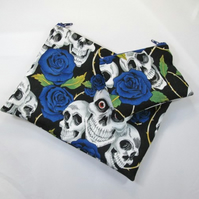 Skulls and Blue Rose Fabric Make Up Bag or Pencil Case and Coin Purse - Free P&P