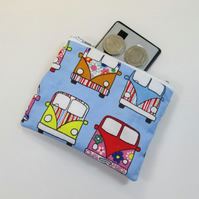 Pale Blue Campervan Fabric Coin Purse -  Free P&P