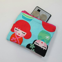 Kokeshi Dolls Fabric Coin Purse -  Free P&P