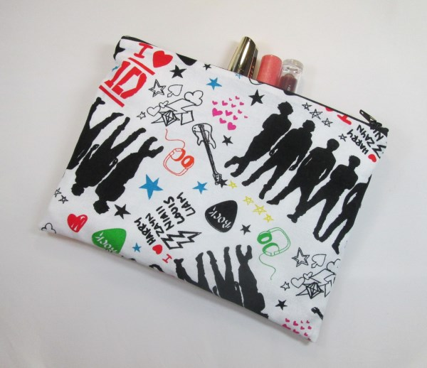 1D One Direction Fabric Make Up Bag or Pencil Case - Free P&P