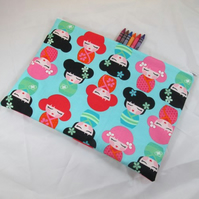 Kokeshi Dolls on Blue Fabric Wash Bag or Extra Large Pencil Case - Free UK p&p