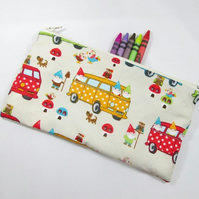 Campervans and Gnomes on Cream Fabric Pencil Case - Free UK p&p