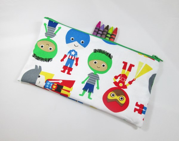 Cartoon Superheroes Fabric Pencil Case - Free UK p&p