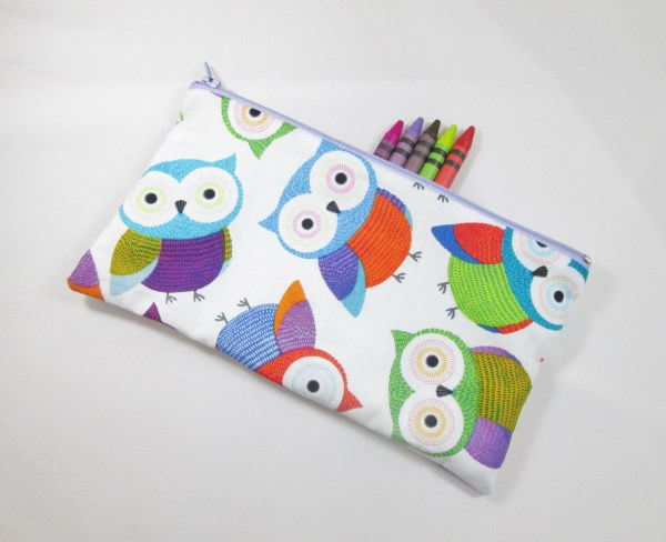 Large Colourful Owls Fabric Pencil Case - Free UK p&p