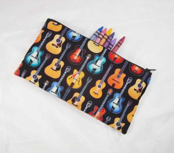 Acoustic Guitars Fabric Pencil Case - Free UK p&p
