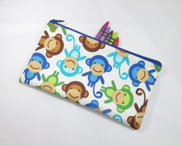 Funky Monkies Fabric Pencil Case - Free UK p&p