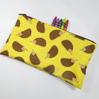 Hedgehogs Fabric Pencil Case - Free UK p&p