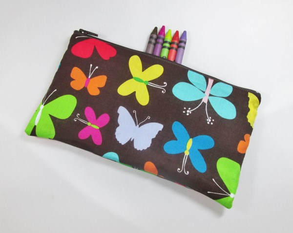 Butterflies on Brown Fabric Pencil Case - Free UK p&p