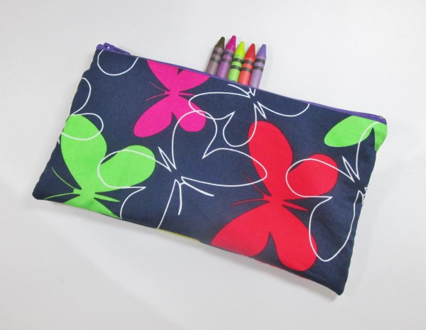Butterflies on Purple Fabric Pencil Case - Free UK p&p