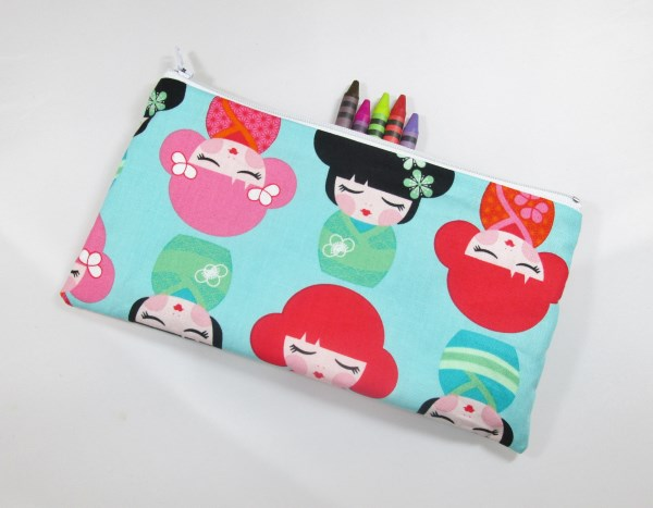 Kokeshi Dolls on Blue Fabric Pencil Case - Free UK p&p