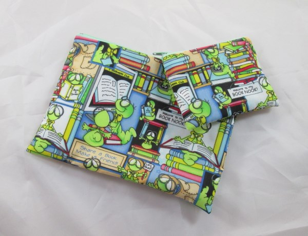 Bookworm Fabric Make Up Bag or Pencil Case and Coin Purse - Free P&P