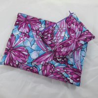 Art Deco Butterflies Fabric Make Up Bag or Pencil Case and Coin Purse - Free P&P