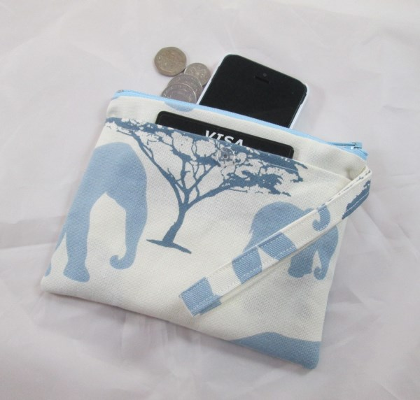 Pastel Blue Elephants Fabric Party Purse - Free P&P