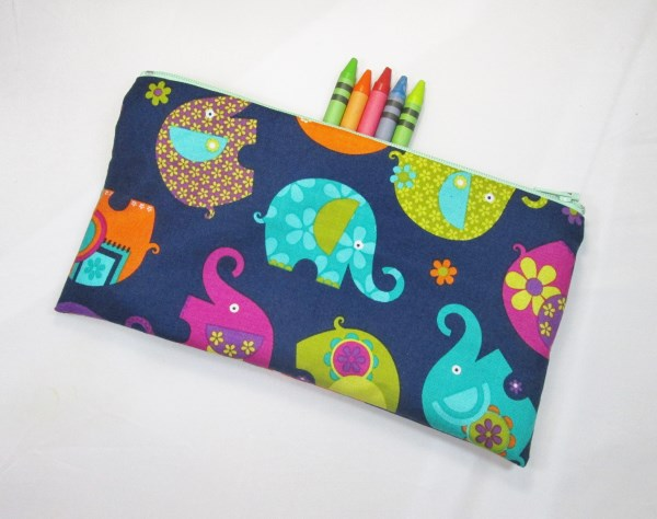 Colouful Elephants Fabric Pencil Case - Free UK p&p