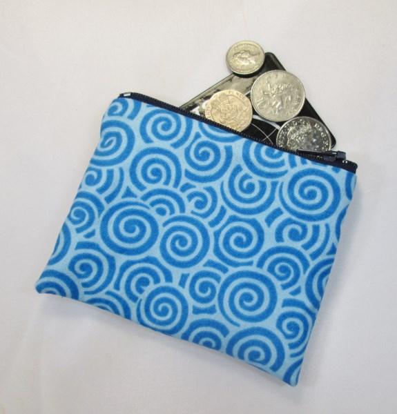 Blue Swirls Fabric Coin Purse - Free P&P