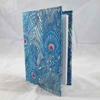 Blue Peacock Feather Fabric Covered A6 2019 Hardback Diary - Free UK P&P