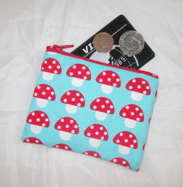 Toadstool Fabric Coin Purse - Free P&P