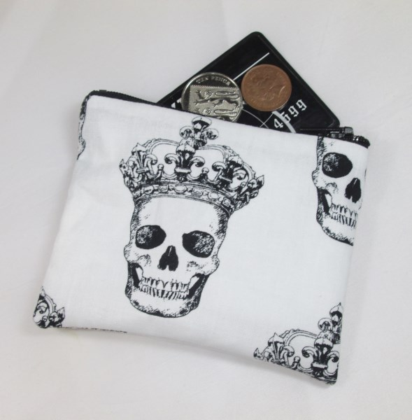 Skulls in Crowns Fabric Coin Purse - Free P&P