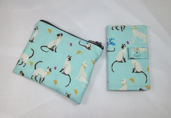 Siamese Cats Fabric Card Holder and Coin Purse