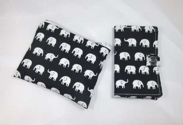 White Elephants Fabric Card Holder and Coin Purse