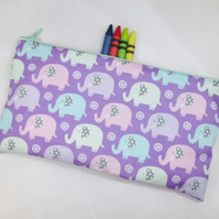 Cute Elephants Fabric Pencil Case - Free UK p&p