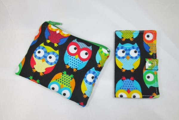 Colourful Owls Fabric Card Holder and Coin Purse