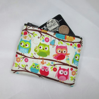 Owls on Branches Fabric Coin Purse - Free P&P