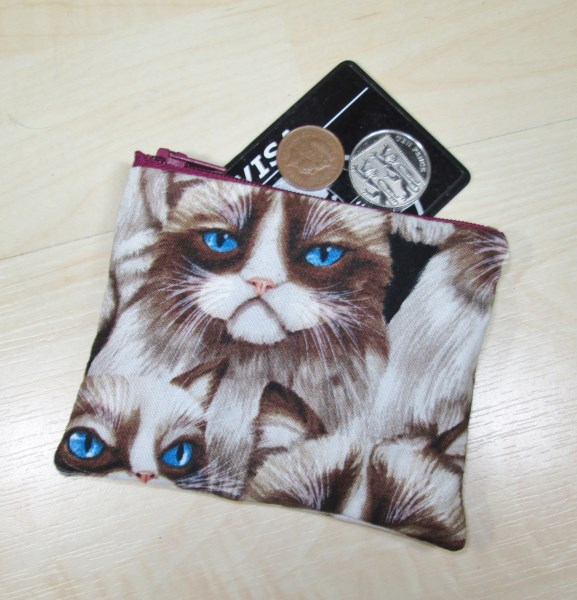 Grumpy Cat Fabric Coin Purse - Free P&P