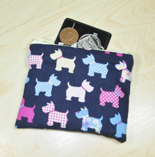 Pastel Scottie Dog Fabric Coin Purse - Free P&P