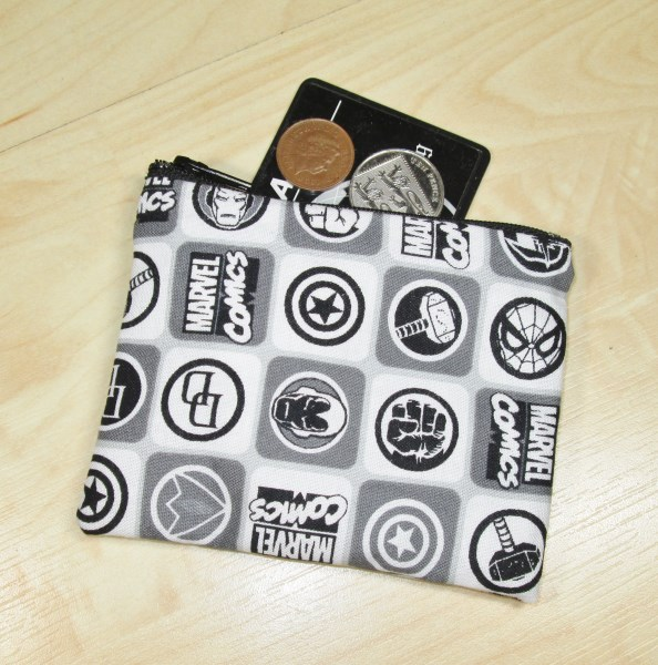 Black and White Marvel Badges Fabric Coin Purse - Free P&P