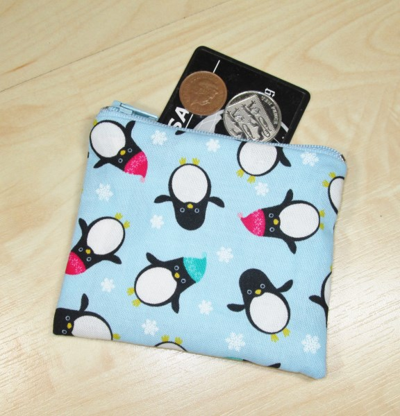 Penguins in Hats Fabric Coin Purse - Free P&P