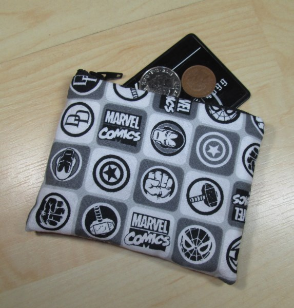 Black & White Superhero Symbol Fabric Coin Purse - Free P&P
