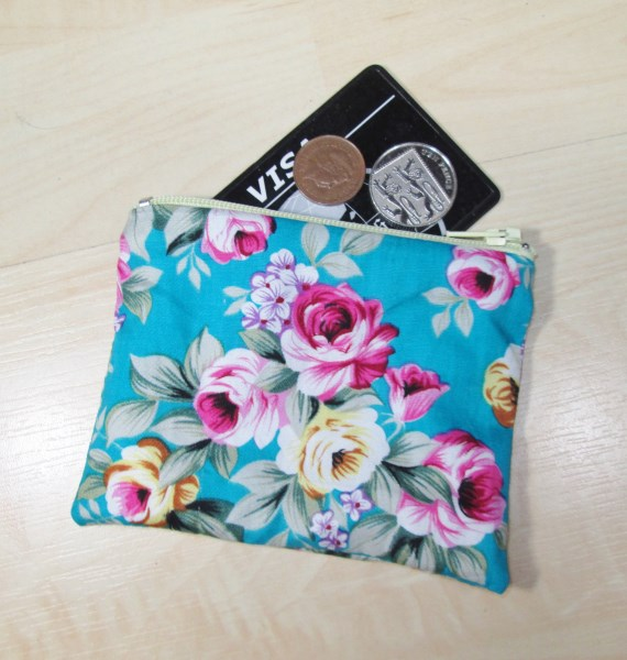 Aqua Floral Fabric Coin Purse - Free P&P