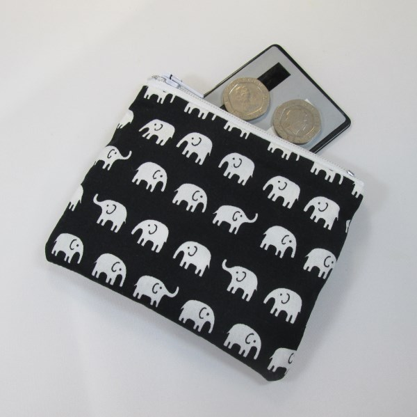 White Elephant Fabric Coin Purse - Free P&P