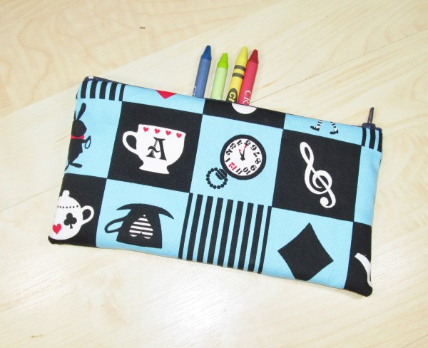 Alice in Wonderland Themed Fabric Pencil Case - Free UK p&p