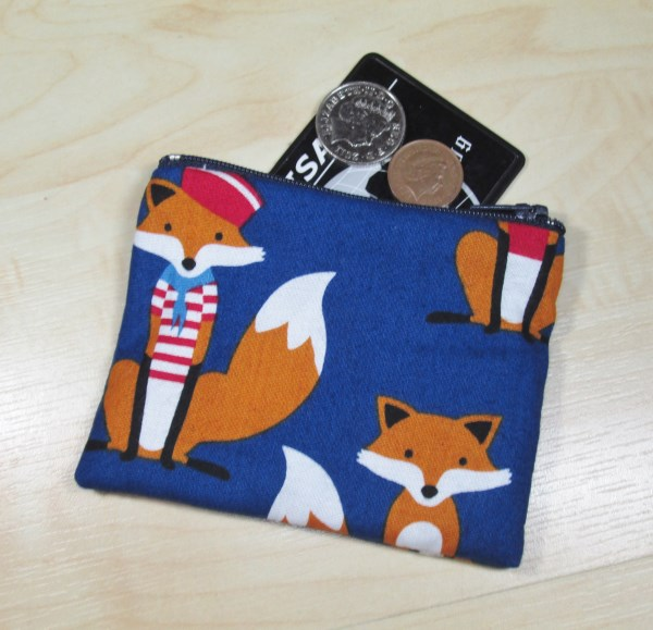 Nautical Foxes Fabric Coin Purse - Free P&P