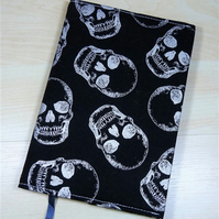 Silver Skulls Fabric Covered A6 2018 Hardback Diary - Free UK P&P