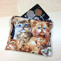 Cute Kitties Fabric Coin Purse - Free P&P