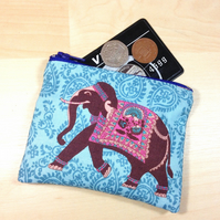 Indian Elephant Fabric Coin Purse - Free P&P