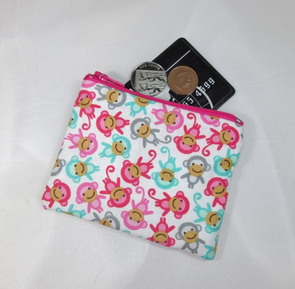 Mini Monkies Fabric Coin Purse - Free P&P