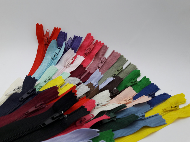 "21 Assorted Colour 9"" Closed End Nylon Zips"
