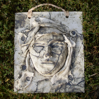 Cynthia - Moon Goddess.  Wall Sculpture