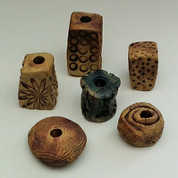 6 Large Ceramic Garden Beads (selection 2)