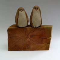 A Pair of Ceramic Baby Owl Cane Toppers