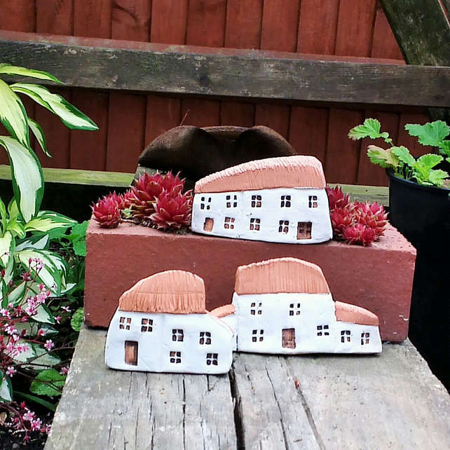 3 Miniature Terracotta Clay Cottages