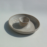 White Speckled Ceramic Egg Cup Dish