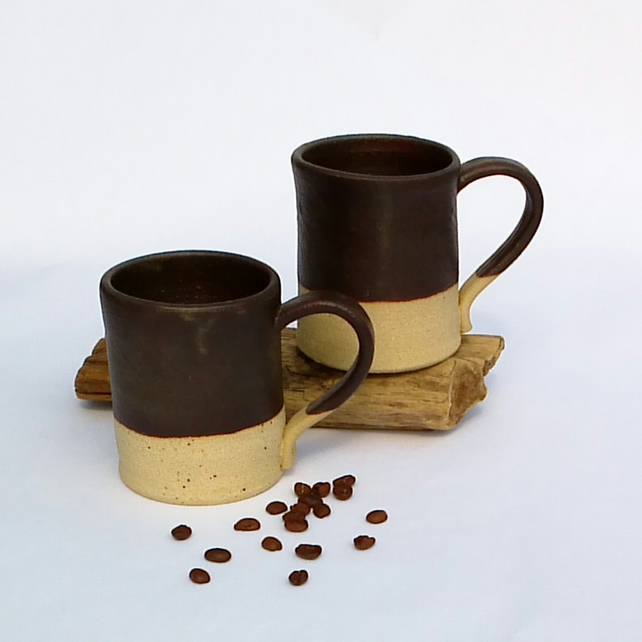 Handmade Stoneware Rustic Espresso Mugs for two