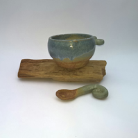 Handmade Ceramic Seascape Sugar Bowl and Ceramic Spoon